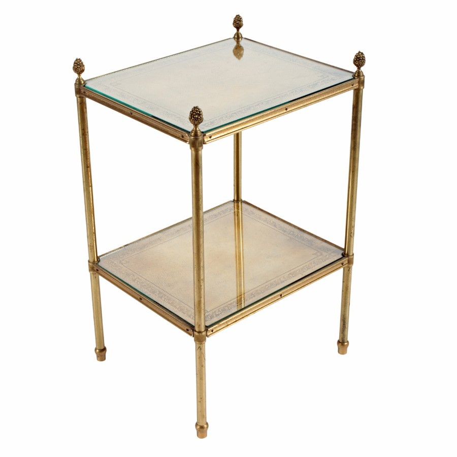 French Brass Leather and Glass Etagere