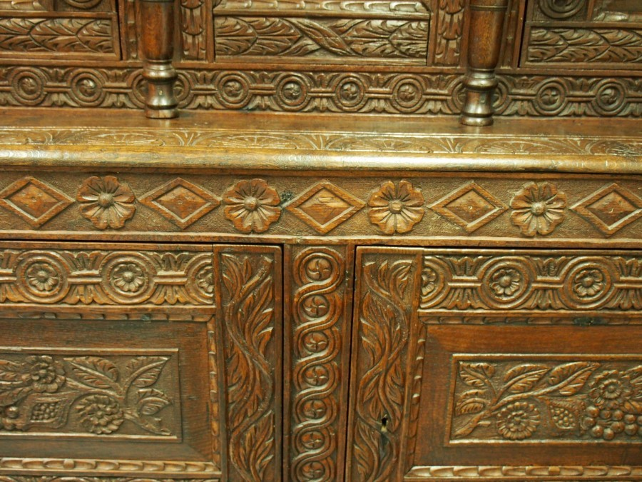 Antique Charles II Carved Oak Cupboard