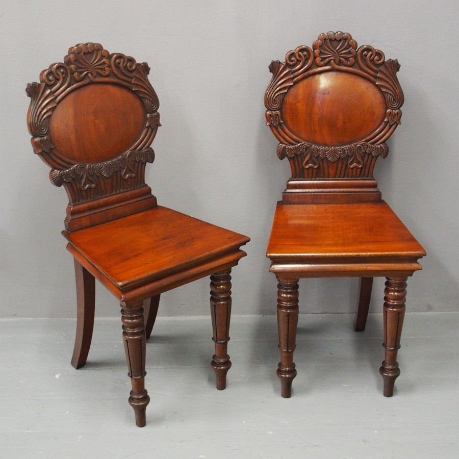 Pair of Mahogany Hall Chairs