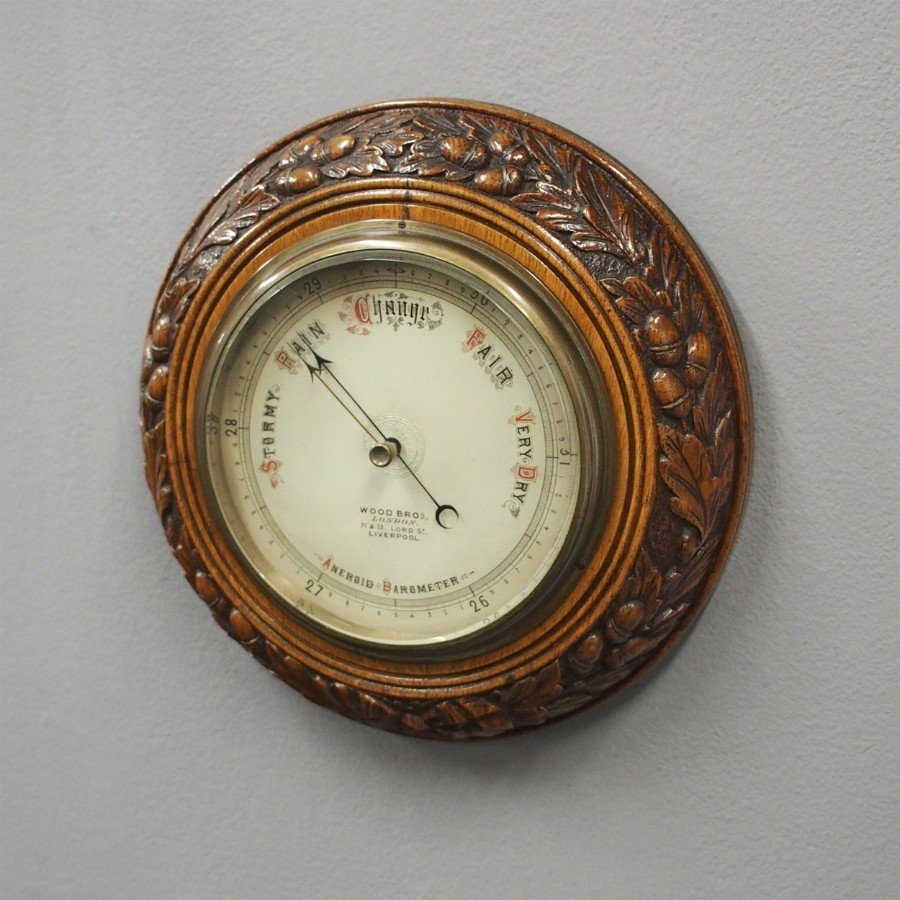 Carved Oak Barometer