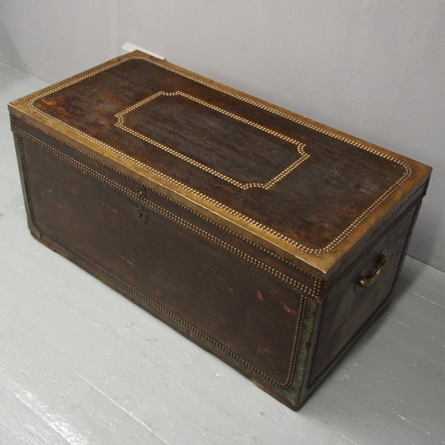 George III Leather and Brassbound Trunk