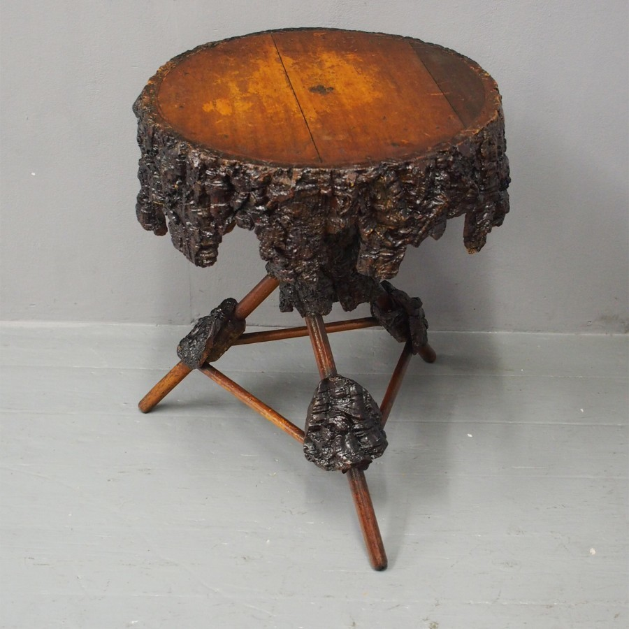 Grotto Style Walnut Bark Occasional Table