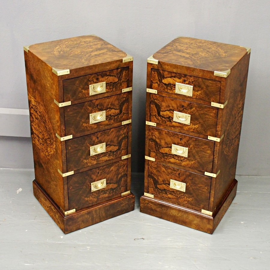 Pair of Victorian Walnut Military Style Bedsides