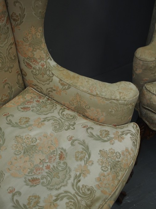 Antique Pair of Queen Anne Style Wing Back Chairs
