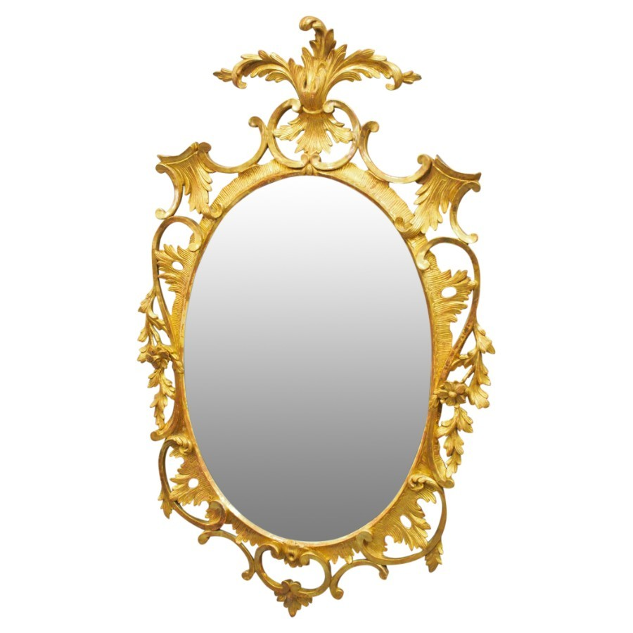 Adams Style Carved Wood and Gilded Oval Mirror