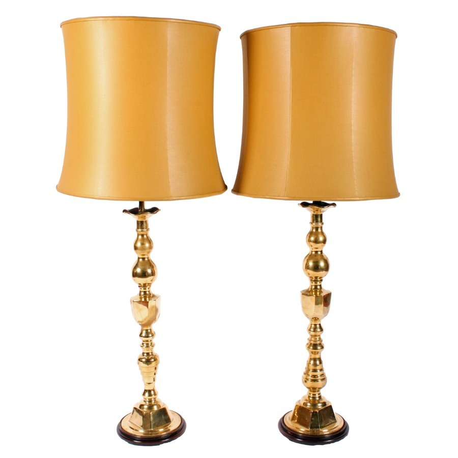 Matched Pair of Large Brass Lamps