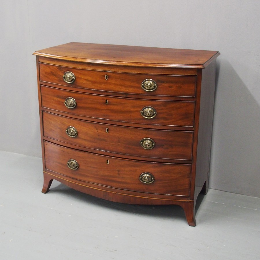 Sheraton Style Bowfront Mahogany Chest of Drawers