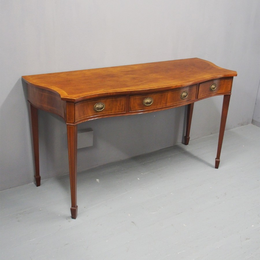 George III Style Mahogany Serpentine Serving Table