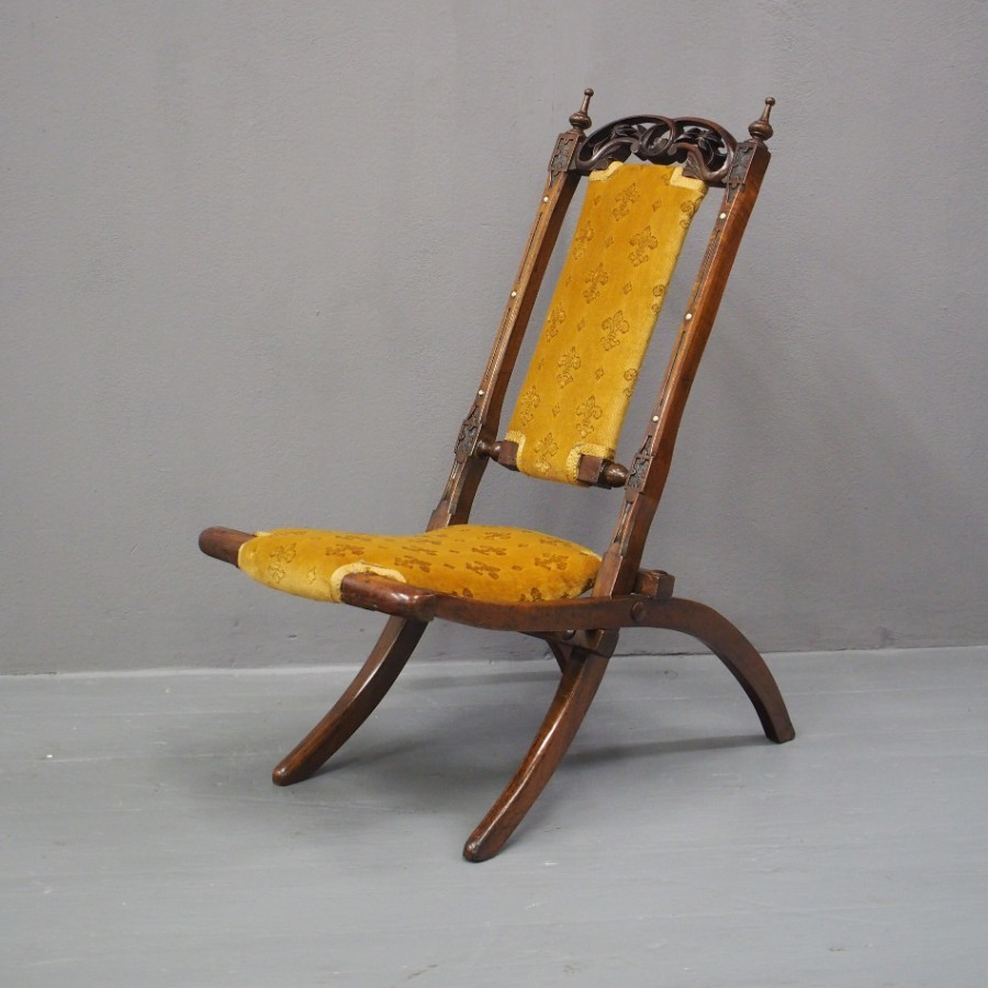 Folding Walnut Childs Campaign Chair