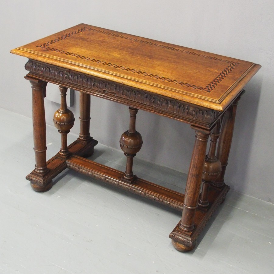 Renaissance Style Inlaid Oak Hall Table