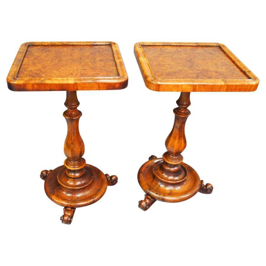 Pair of Victorian Burr and Walnut Occasional Tables