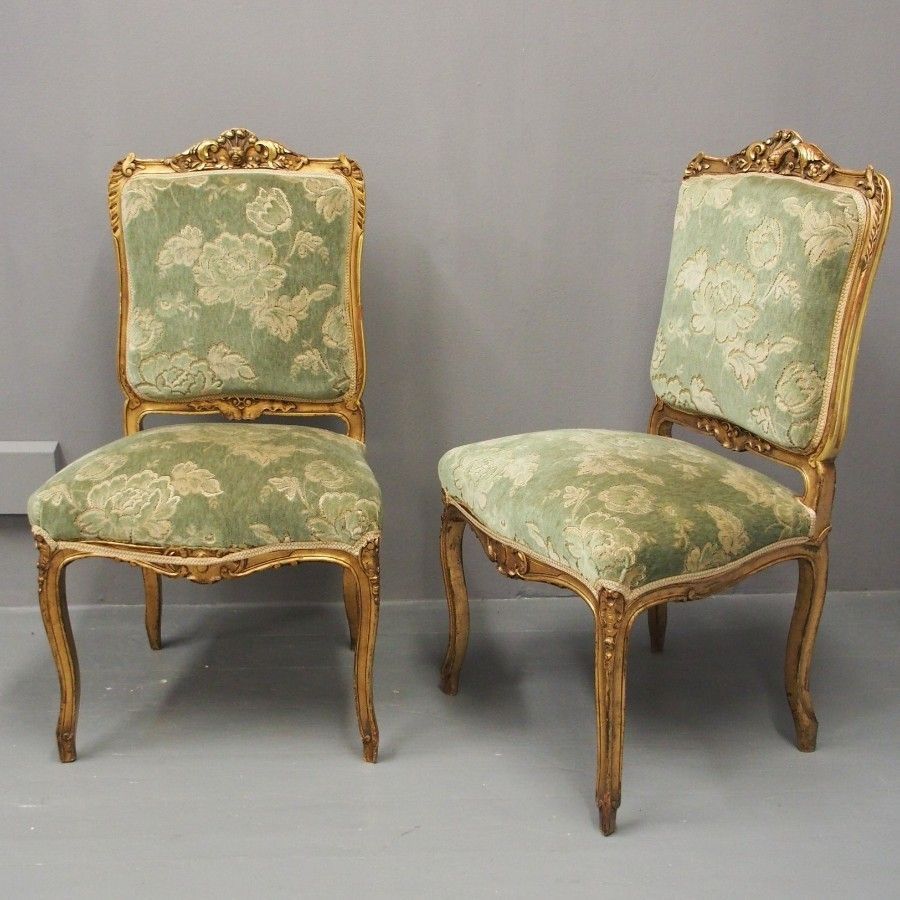Pair of Gilded Side Chairs