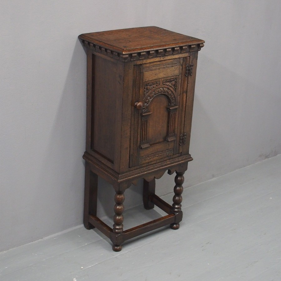 Jacobean Style Carved Oak Bedside