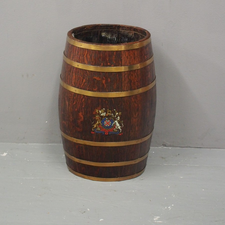 Barrel Stick Stand with Coat of Arms