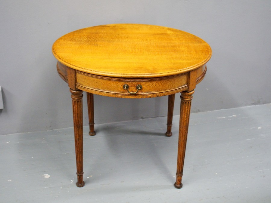 Antique Victorian Small Oak Drum Table