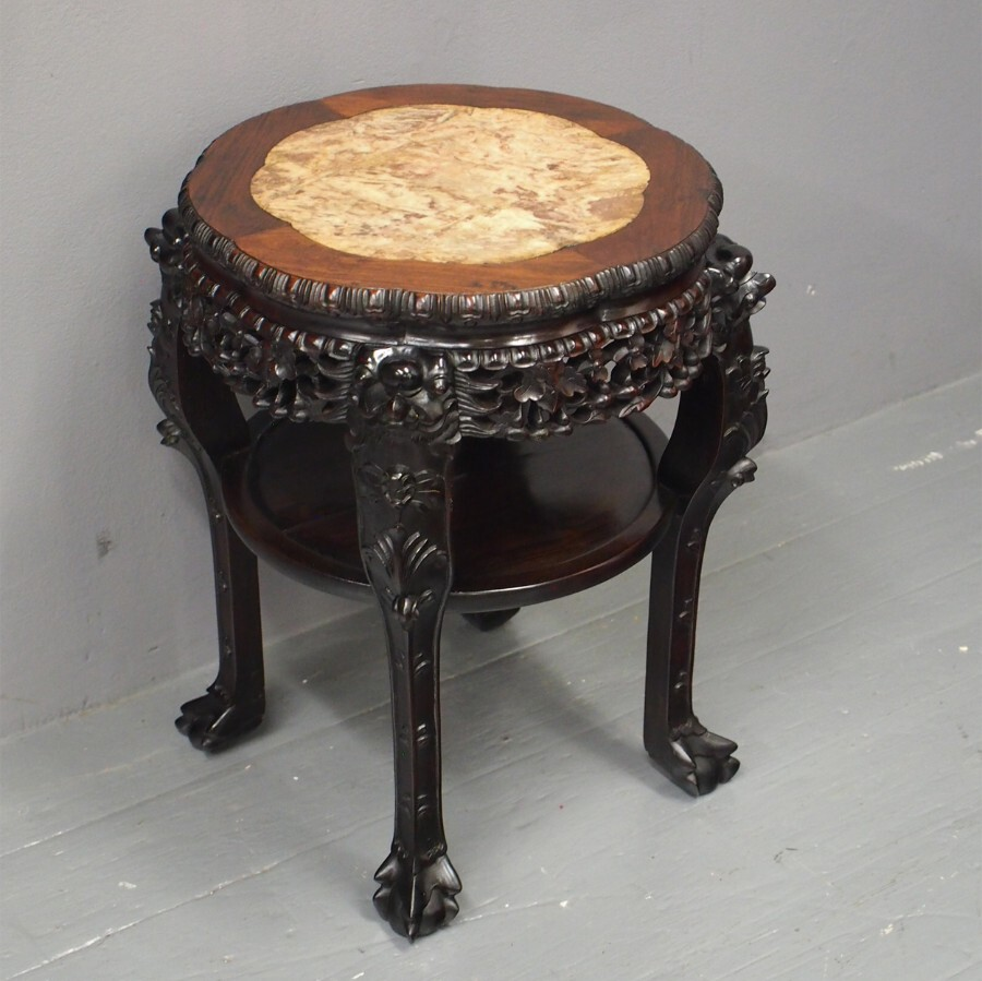 Chinese Hardwood and Marble Top Stand