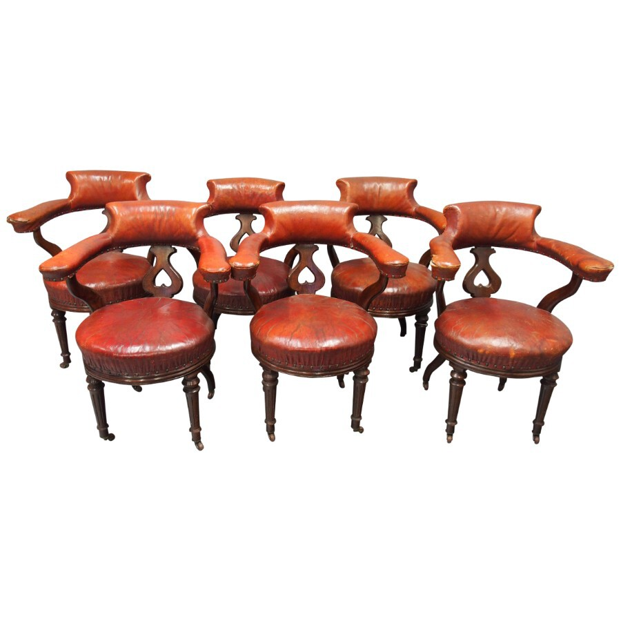Set of 6 Victorian Library Chairs