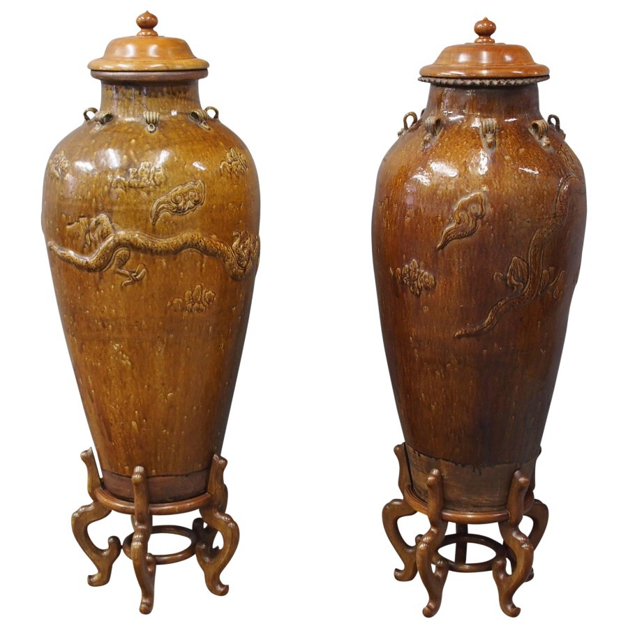 Pair of Mataban Style Earthenware Vases