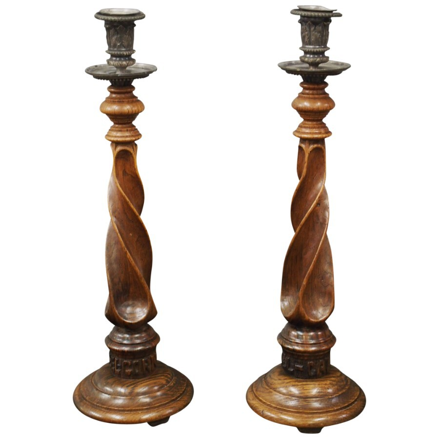 Pair of Scottish Arts and Crafts Oak Candlesticks