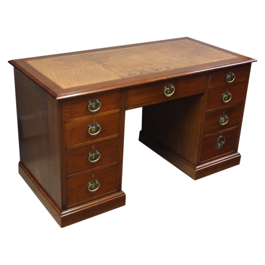 Antique Art Nouveau Mahogany Kneehole Desk