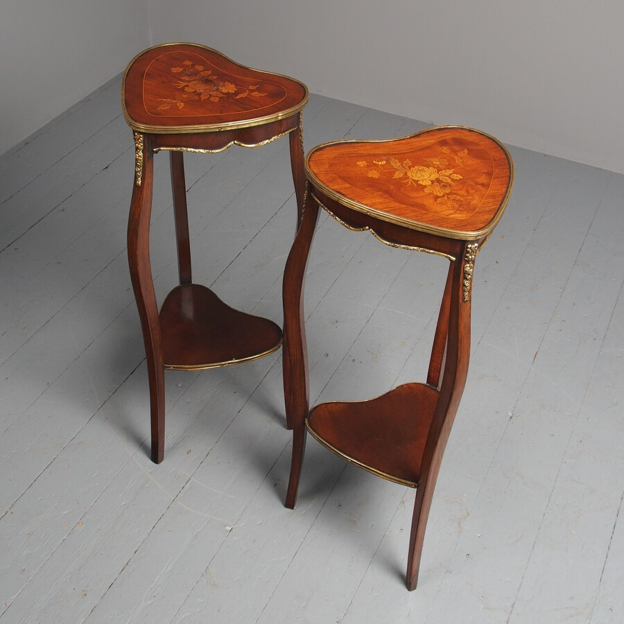 Antique Antique Pair of Heart Shaped Inlaid Tables / Lamp Stands