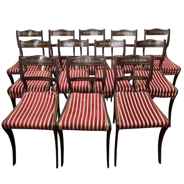 Set of 12 Scottish Regency Rosewood Dining Chairs