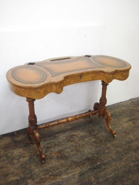 Mid Victorian Kidney Shaped Ladies Writing Table
