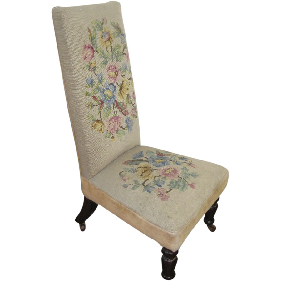 Victorian Nursing Chair with Needlepoint Upholstery