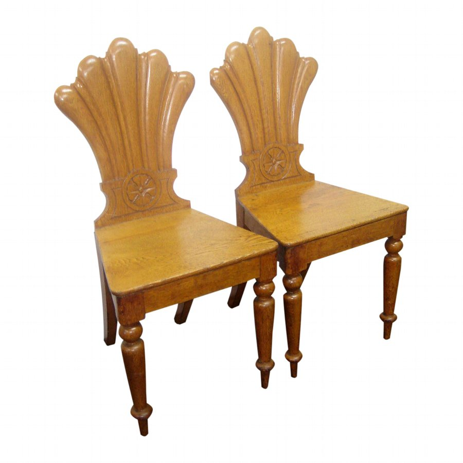 Pair of Mid Victorian Oak Hall Chairs