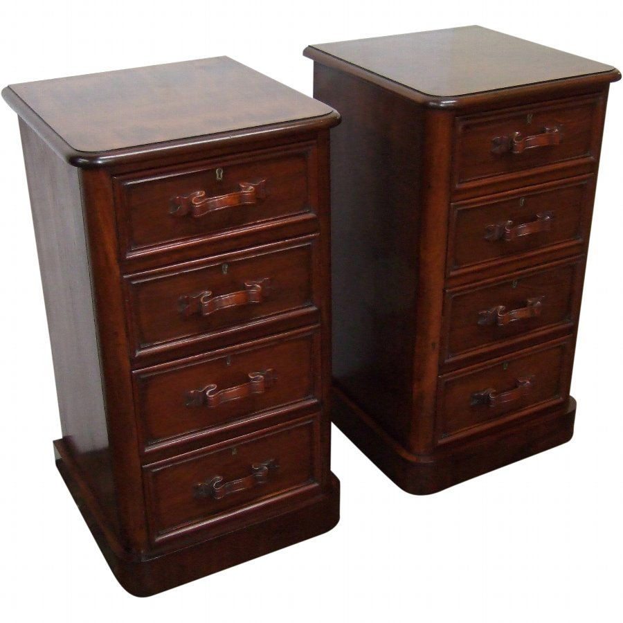 Pair of Victorian Mahogany Chests/Lockers