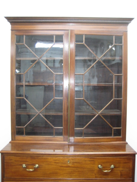 Antique Mahogany Secretaire Bookcase