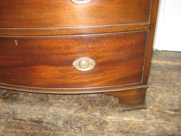 Antique George III Style Bowfront Mahogany Chest of Drawers