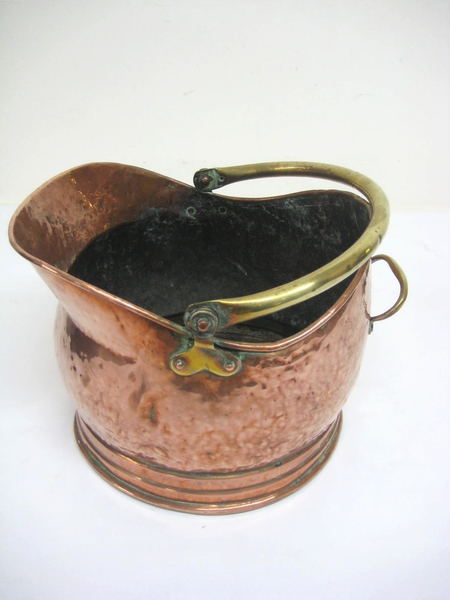 Antique Brass and Copper Coal Hod