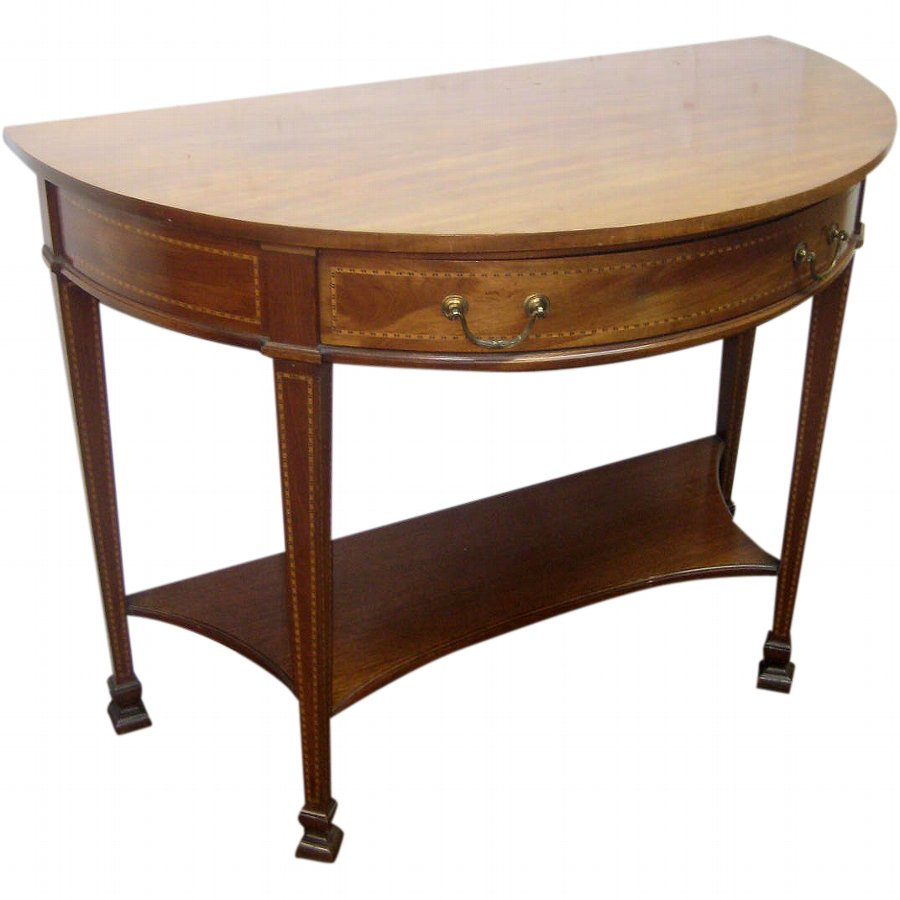 Mahogany Inlaid Demi Lune Side Table