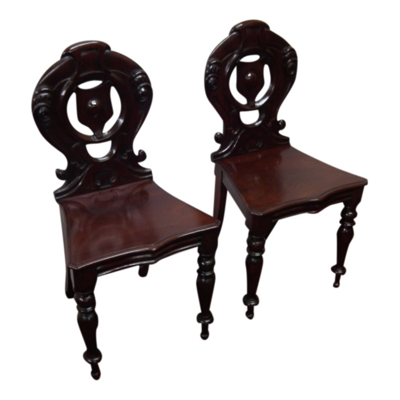 Pair of Victorian Carved Mahogany Hall Chairs
