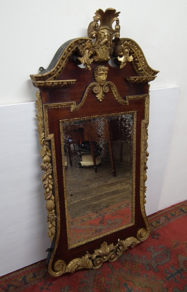 George II Style Carved Walnut Gilded Mirror