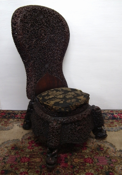 Burmese Carved Side Chair
