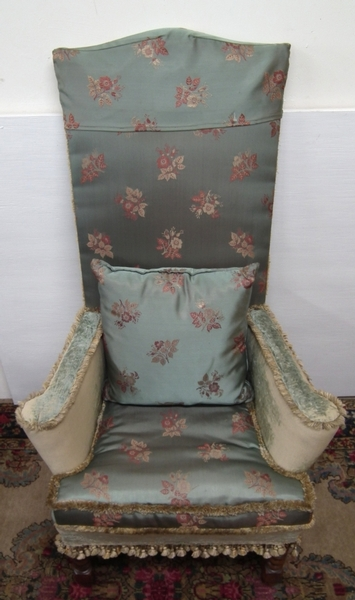 Antique William and Mary Style High Back Chair