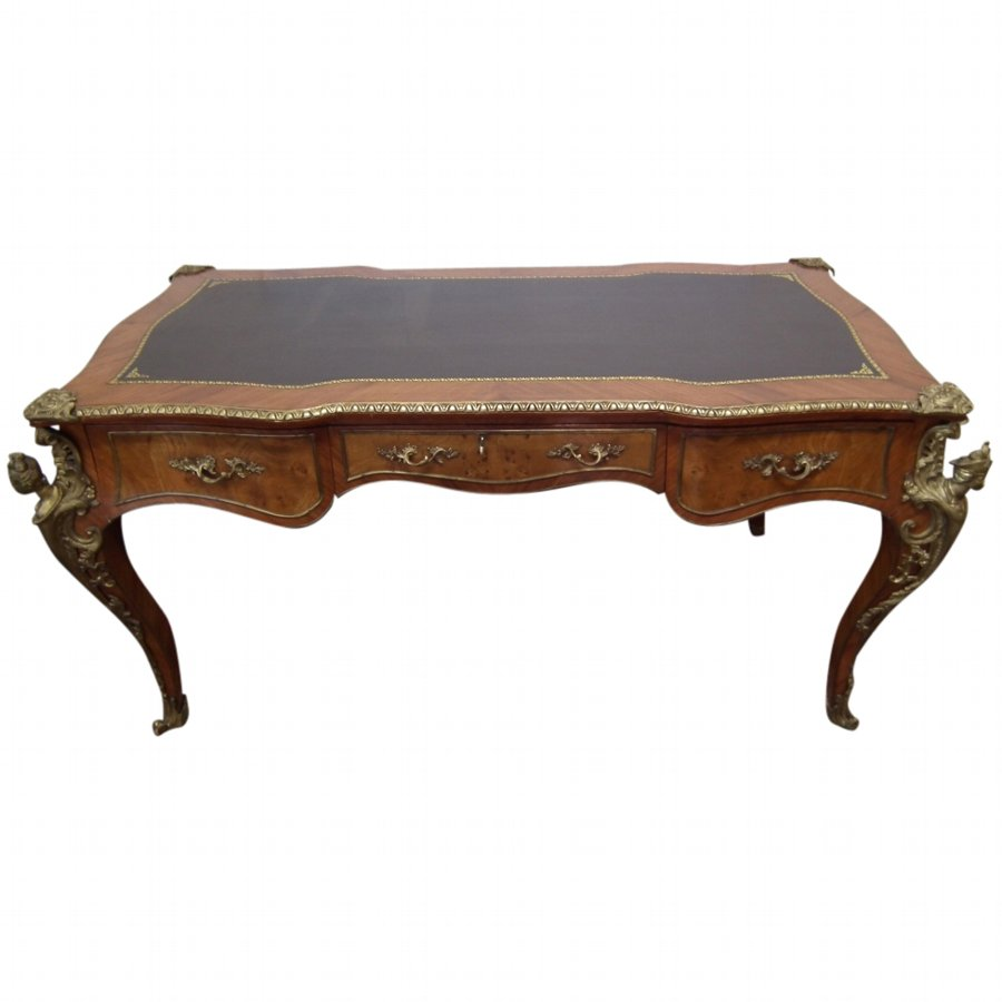 French Walnut and Brass Mounted Bureau Plat