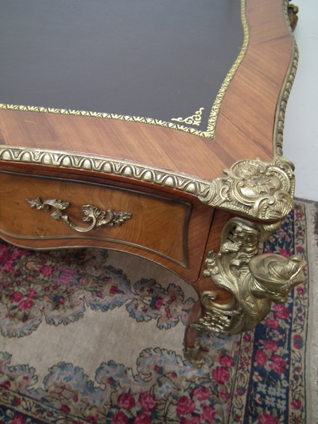 Antique French Walnut and Brass Mounted Bureau Plat