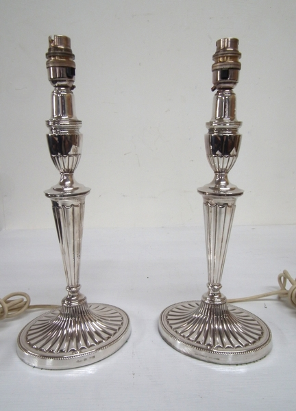 Pair of Adams Style EPNS Candlestick Lamps