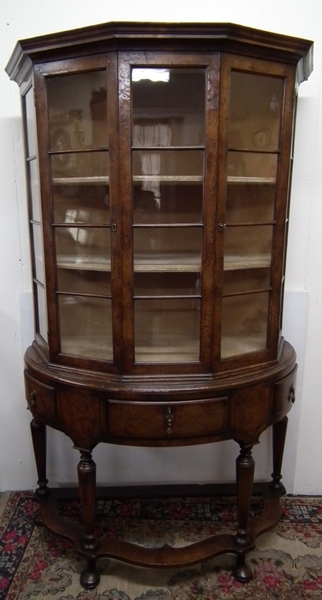 :SALE: Carolean Style Burr Walnut Bow Fronted Cabinet