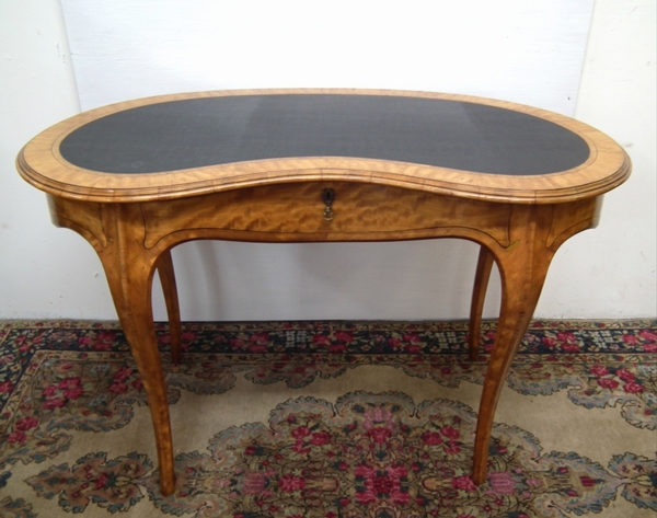 Kidney Shaped Satinwood Ladies Writing Table
