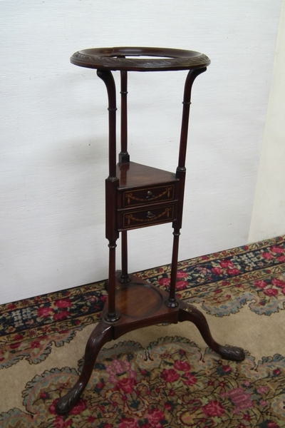 George III Inlaid and Carved Mahogany Washstand