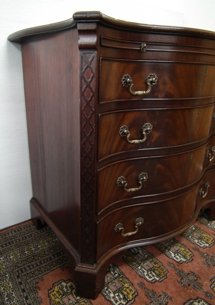 Antique George III Style Serpentine Small Mahogany Chest of Drawers