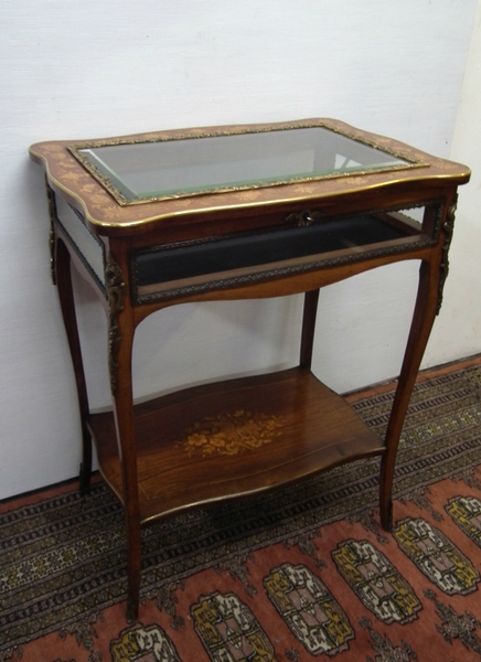 Walnut and Floral Marquetry Vitrine Table