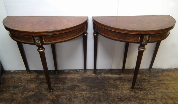 Pair of 20th Century Louis XV Style Card Tables