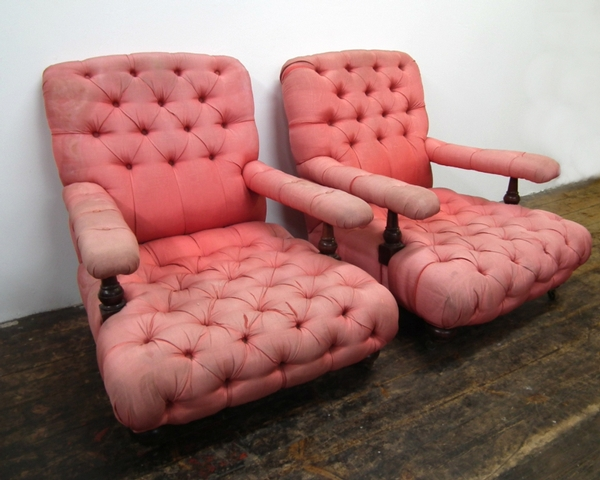 Pair of Deep Buttoned Easy Chairs