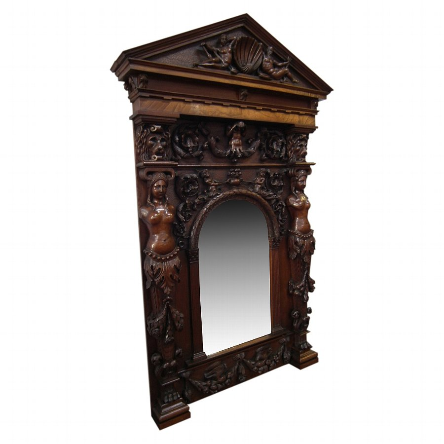 Continental Carved Walnut and Elm Mirror