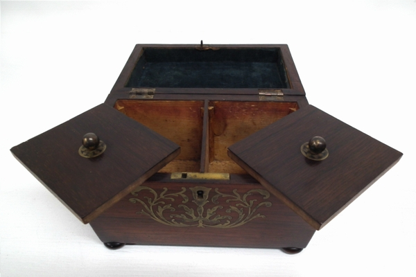 Antique Regency Rosewood Brass Inlaid Tea Caddy